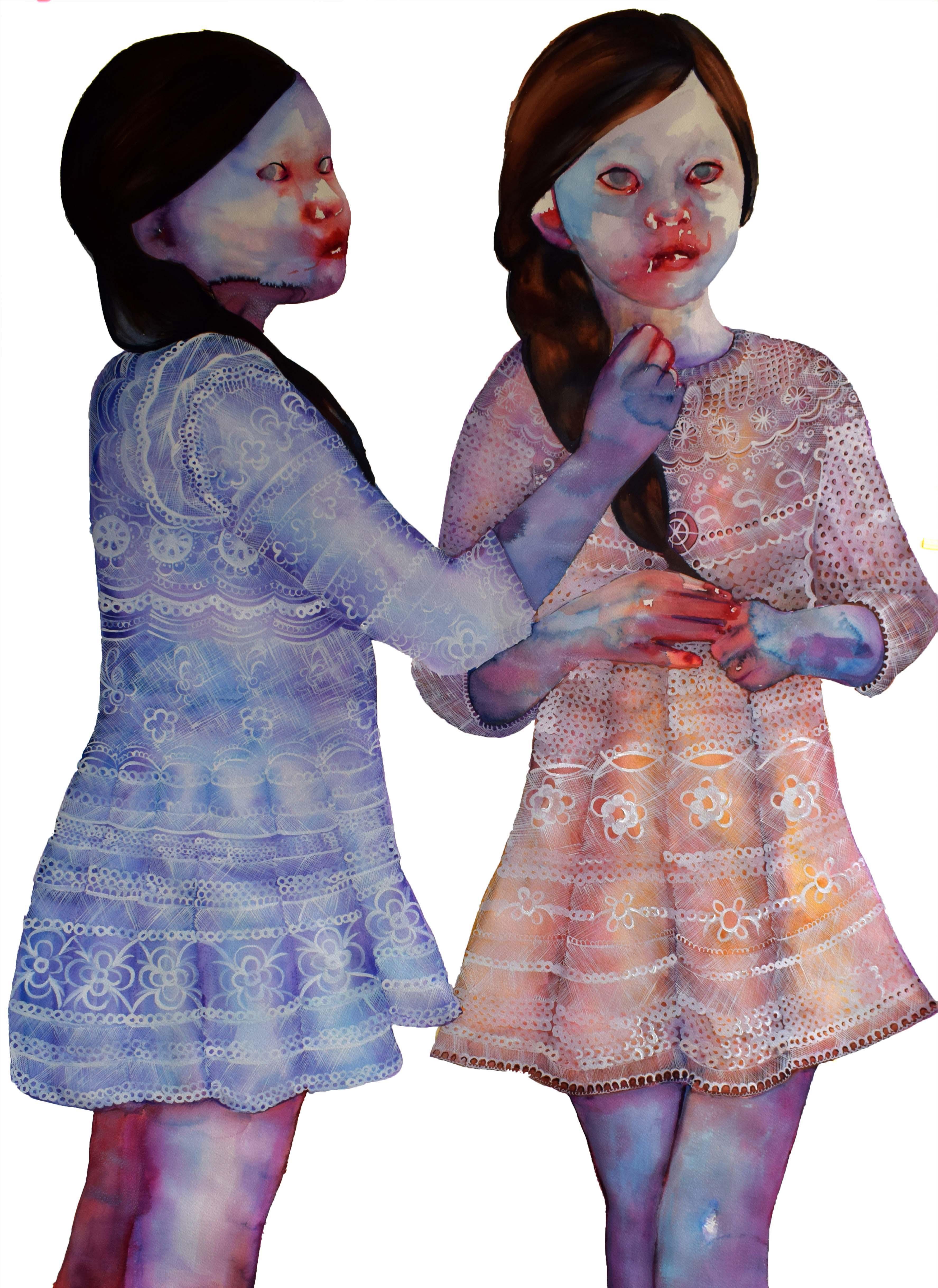 LucyandMina,watercoloronpaper,140x100cm,2017